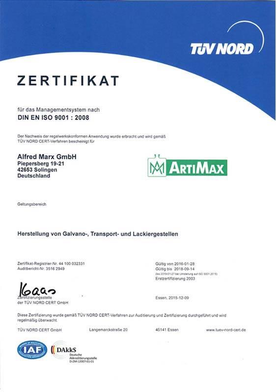 Zertifiziert nach DIN EN ISO 9001 : 2008 ARTIMAX